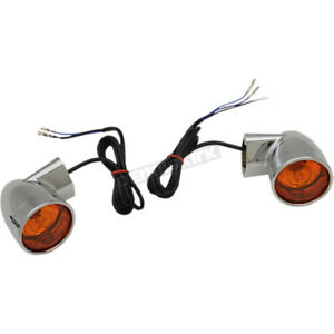 Drag Specialties Chrome Bullet-Style Front Turn Signals - 2020-1377