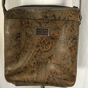 Vintage Relic Brown Leather Crossbody Purse Paisley Embossed Tooled