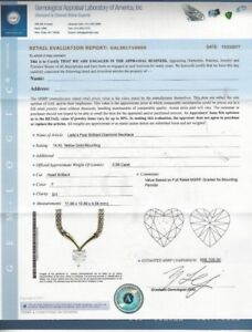 3.56 CT Heart Diamond Rare Designer Necklace Yellow Gold $98K Value WCert!!