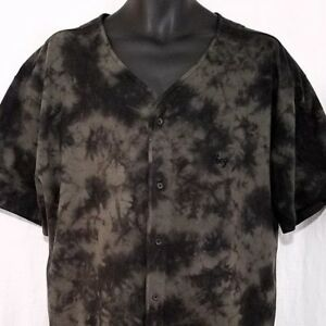 Obey Propaganda Mens Baseball Jersey Shirt Button Down Black Gray Tie Dye XL
