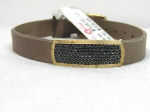 VicenzaGold Black Spinel Station Leather Bracelet 14K