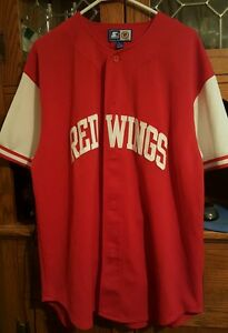 NHL Starter Detroit Red Wings Baseball Style Button Down Jersey Siz Lg All Sewn!