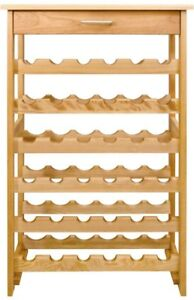 Wine Rack 24 in. W x 13 in. D x 40 in. H 36-Bottle Floor Natural Wood Finish