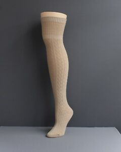 Tan cuffed cable knit long tall boot over the knee under tall boot thigh socks $13.99