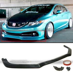 Fit 13 15 Honda Civic 4Dr Sedan GT Style Front Bumper Chin Lip Bodykit Spoiler