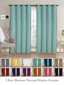 2 Pack: Hotel Thermal Grommet 100% Blackout Curtains Assorted Colors amp; Sizes $32.99