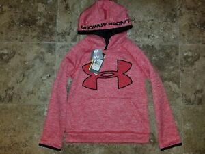 Nwt Boys Youth Under Armour Hoodie Hooded Sweatshirt Storm Red Heather Size L XL