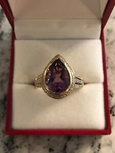 Amethyst and Diamond Ring 14k Yellow Gold Size 10