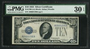 FR1700 $10 1933 SC PMG 30 EPQ CHOICE VF DEEP EMBOSSING ONLY 60 RECORDED WLM5299