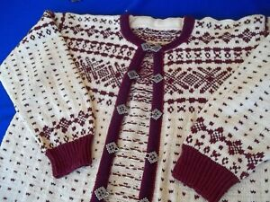 Vintage Womens Sweater Slavic Hand Knitted Metal Hook Closures sz L 40-44