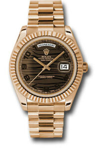 Rolex Day-Date II 41mm President 18kt Rose Gold Brown Bronze Wave Dial 218235
