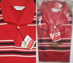 ROCKABILLY RED Vtg 1960s Mens TOMMY KNIGHT Polo Shirt Sports T-Shirt M NOS MIP