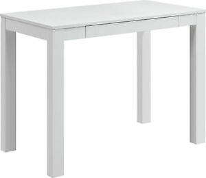 Parsons Desk with Drawer Table for Home Computer Makeup Dressing Storage White