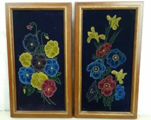 Vintage Paintings Purple Velvet Still Life Flowers A Pair 13.5 x 7.5 Framed Art $29.99