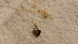 14k Yellow Gold with Diamond Locket Necklace