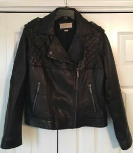 MICHAEL Michael Kors Moto Quilted Black soft Real Leather Jacket XL
