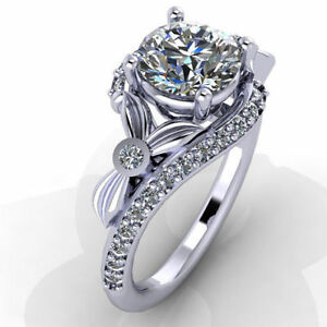 Certified 3.05Ct White Round Cut Diamond Lovely Engagement Ring 14K White Gold