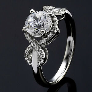 Pave Halo .90 Carat VS2H Round Cut Diamond Engagement Ring White Gold