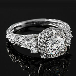Halo Pave 1.21 Carat SI1H Round Diamond Engagement Ring 14K White Gold