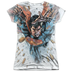Superman BULLETS IN THE SKY 1-Sided Sublimated Big Print Poly Juniors T-Shirt