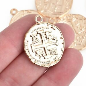 5 Light Gold Coin Relic Charm Pendants, round gold plated metal, 30x25mm chs4116