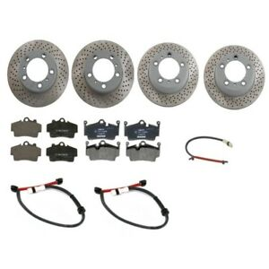 Porsche Boxster Cayman Front & Rear Vented Brake Rotors with Pads & Sensors Kit