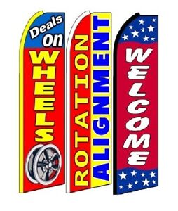 Deals On Wheels Rotation Alignment Welcome King Size Swooper Flag Pack of 3
