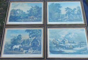 Currier & Ives Lithograph Set Of Four Large American Farm Scenes F. F. Palmer