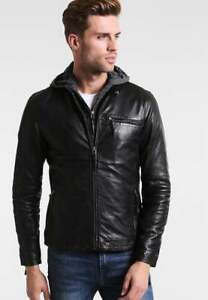 Men's Motorcycle Brando Style Biker Real Leather Hoodie Jacket - Detach Hood N12