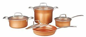 CONCORD 8 Piece Ceramic Coated Cookware Set -Copper- Induction Compatible Pan