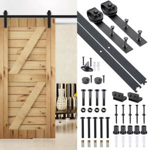 6.6 FT Carbon Steel Sliding Barn Wood Door Hardware Track Roller Kit Set Black