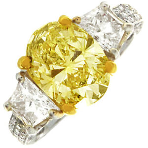 Antique Design 2.5 CTW Oval Cut Diamond Ring Fancy Yellow 18K Gold GIA Certified