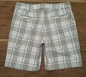 Mens Under Armour Loose Fit Heat Gear White Plaid Check Golf Shorts 34 Waist