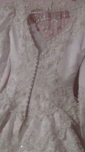 white satin lace beaded wedding dress size 10