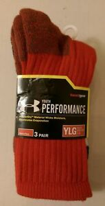 Boys Youth 3 Pair Under Armour Sport Performance Crew Socks Shoe Size 1-4 1075