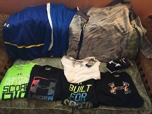 NWT lot Pre owned -Boys Under Armour shorts Hoodie-Shirts size LargeEx Large
