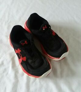 boys kids size 13 Under Armour black red tennis athletic shoes play slip on