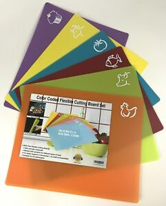 NEW Set of 6 Color Coded Flexible Cutting Boards BPA Free Anti-Slip 12