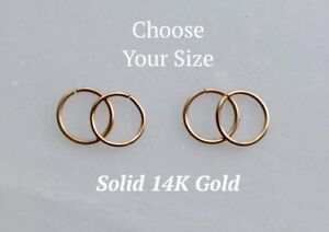 14K Solid Yellow Gold 22g mini tiny hoop ear ring 8-10mm cartilagetragusnose