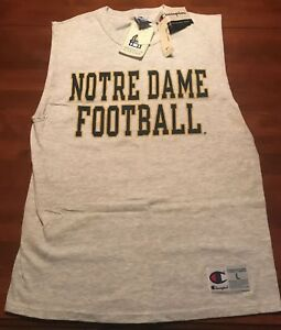 Vintage New Notre Dame Football Cut Off Shirt Champion 1990's 90's large madeUSA