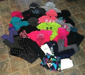 24PC Nike Under Armour Puma Hoodies Shirts Shorts Pants Lot Girls Youth sz LXL