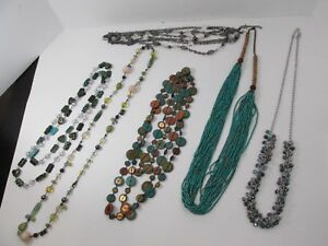 Lot of 6 Costume Jewelry Beaded Necklace Multi Strand Wood Aurora Borealis Heart