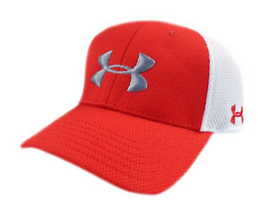 NEW Under Armour Golf Spacer Mesh RedWhiteGrey Mens Fitted SM HatCap