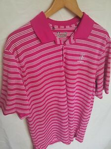 Men's Under Armour Loose Heat Gear Pink Striped Polo Golf Shirt Size Large TPC $18.64