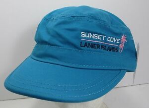 Sunset Cove Lanier Islands Hat Cap Cadet Style Flat Top USA Embroidery New