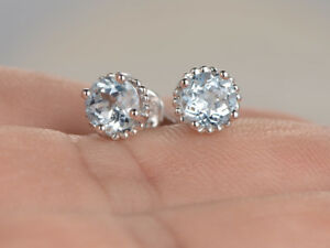 1.50ct Aqua Diamond Earrings Women Estate Vintage With 14k White Gold Over