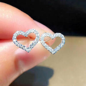 2.CT WOMEN'S BEAUTIFUL SOLITAIRE DIAMOND HEART STUD EARRING  18K WHITE GOLD OVER