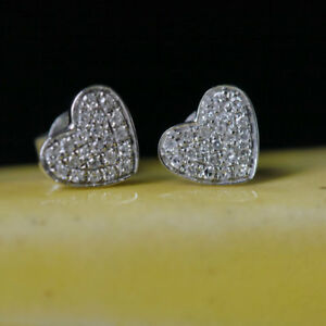 1.CT WOMEN'S BEAUTIFUL SOLITAIRE DIAMOND HEART STUD EARRING  18K WHITE GOLD OVER