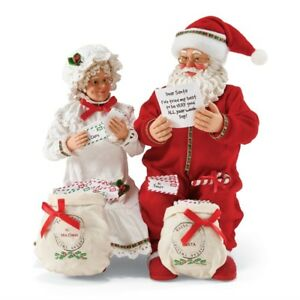 Possible Dreams Figurine Set Mr. & Mrs. Claus Sorting Bags of Mail New 4057132