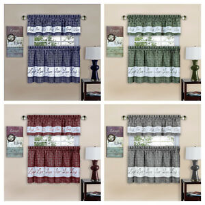 Gingham Check Live~Laugh~Love 3 Pc Kitchen Curtain Set - Assorted Colors